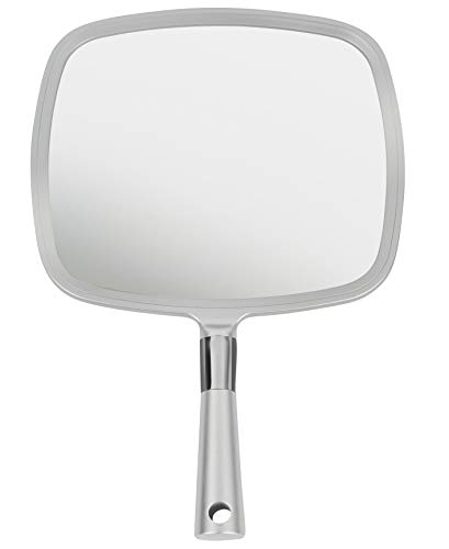 Mirrorvana Large & Comfy Hand Held Mirror with Handle - Professional Salon Style in Silver (1-Pack)