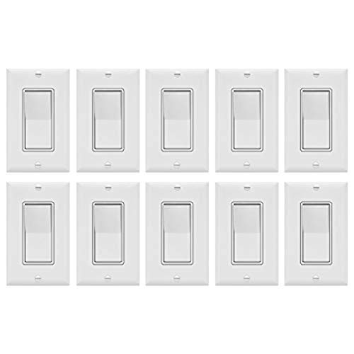 ENERLITES Decorator On/Off Paddle Switch with Wall Plates, Single Pole, 3 Wire, Grounding Screw, Residential Grade, 15A 120V/277V, UL Listed, 91150-WWP-10PCS, White (10 Pack)
