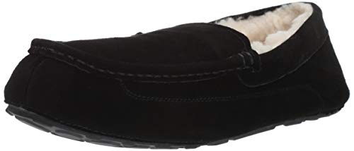 Amazon Essentials Men's Leather Moccasin Slipper, Black, 10 M US