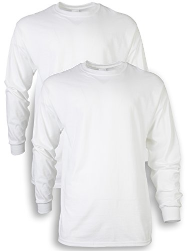 Gildan Men's Ultra Cotton Adult Long Sleeve T-Shirt, 2-Pack, White, Medium
