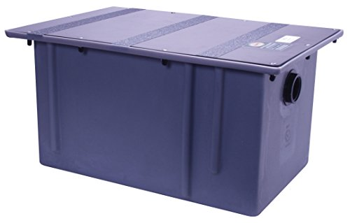 Zurn GT2702-15 Polyethylene Grease Trap 15 Gallons Per Minute 30 Pounds Capacity Grease Interceptor, Grease Interceptor,Grey