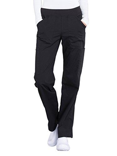 Cherokee Workwear Professionals Mid Rise Straight Leg Pull-on Cargo Scrub Pant, S, Black