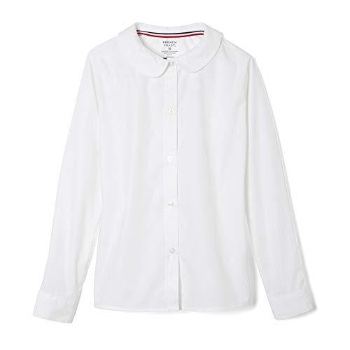 French Toast Big Girls' Long Sleeve Peter Pan Collar Blouse, White, 10
