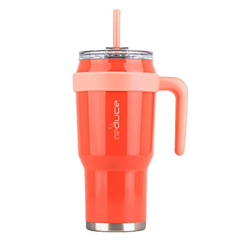 Reduce Tumbler – 40 oz Tumbler With Lid and Straw and Handle – 36 Hours Cold – Vacuum Insulated, Sweat-Proof Body – Large Insulated Mug for Cold and Hot Drinks, Flamingo