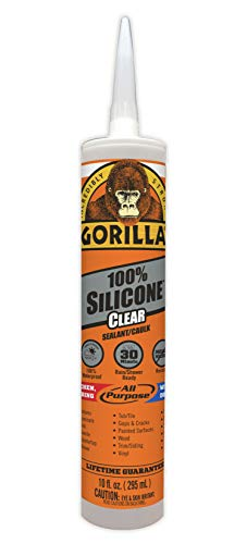 Gorilla Clear 100 Percent Silicone Sealant Caulk, Waterproof and Mold & Mildew Resistant, 10 ounce Cartridge, Clear, (Pack of 1)