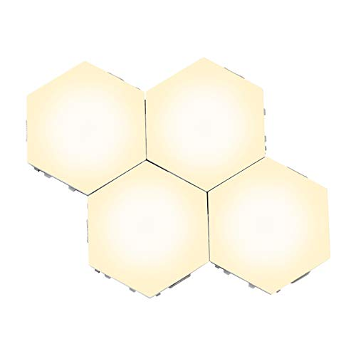 Wall Touch Lights,Hexagonal Wall Lamp Creative Model DIY Night Lights Start Switch Decoration Lamp for Kitchen Hallway Lover Gift (Warm, 4 Pieces)