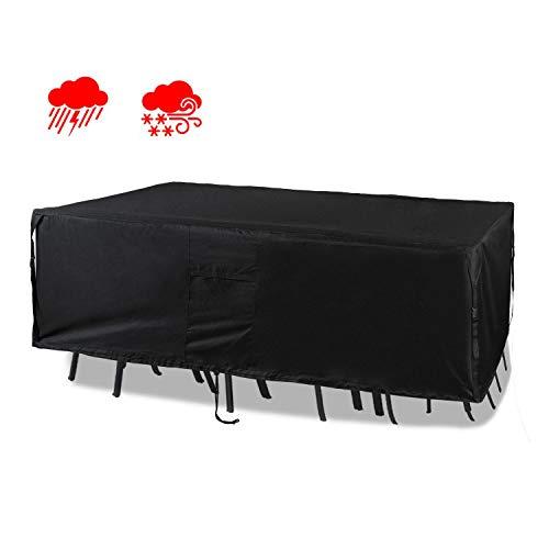 Chutsang Patio Furniture Set Cover Veranda Rectangular Lawn Table Cover, 600D PVC Durable Square Heavy Duty and Waterproof - 84' L x 44' W x 24' H