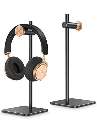Headphone Stand Holder Adjustable,OMOTON Aluminum Haedset Desktop Stand Holder with Non-Slip Silicone Base for Sennheiser, Sony, Audio-Technica, Bose, Beats, AKG and More,Black