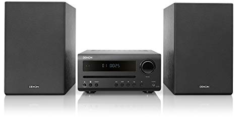 Denon D-T1 Home Theater Mini Amplifier and Bookshelf Speaker Pair - Compact Hi-Fi Stereo System with CD/FM   Perfect for Small Rooms