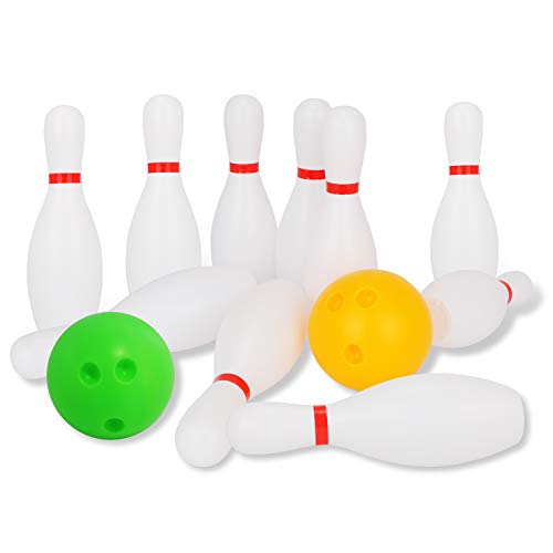 Liberry Kids Bowling Set Includes 10 Classical White Pins and 2 Balls, Suitable as Toy Gifts, Early Education, Indoor & Outdoor Games, Great for Toddler Preschoolers and School-age Child, Boys & Girls