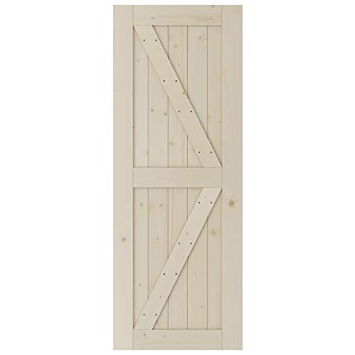 SmartStandard 30in x 80in Sliding Barn Wood Door Pre-Drilled Need to Assemble, DIY Unfinished Solid Spruce Wood Panelled Slab, Interior Single Door Only, Natural, K-Frame (Fit 5FT Rail)