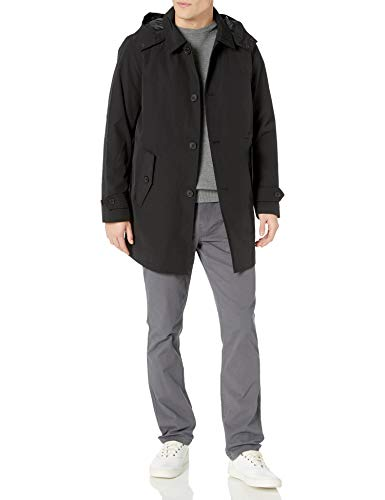 Tommy Hilfiger Men's Hooded Rain Trench Coat with Removable Quilted Liner, black, Medium