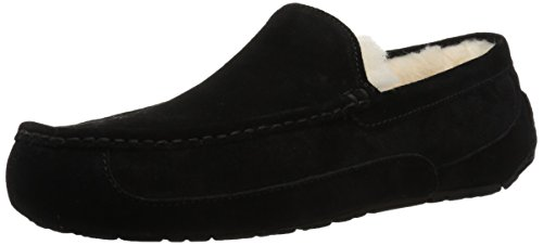 UGG Men's Ascot Slipper, Black Suede, 11 M US