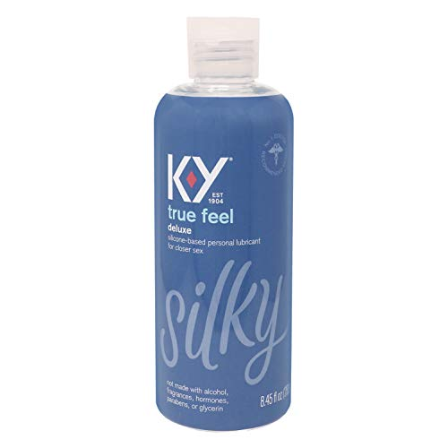 Sex Lube for Women, K-Y True Feel Deluxe Silicone Personal Lubricant for Sex, Safe to Use with Natural Rubber Latex Condoms, 8.45 oz