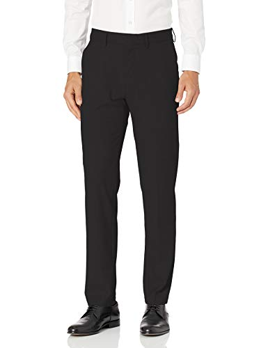 Haggar Men's J.M. Stretch Superflex Waist Slim Fit Flat Front Dress Pant, Black, 30Wx32L
