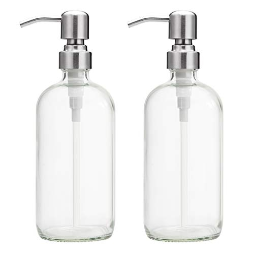 AmazerBath 2-Pack Soap Dispensers, 16 OZ Clear Glass Soap Bottles with Stainless Steel Pump Hand Soap Lotion Dispensers for Bathroom and Kitchen