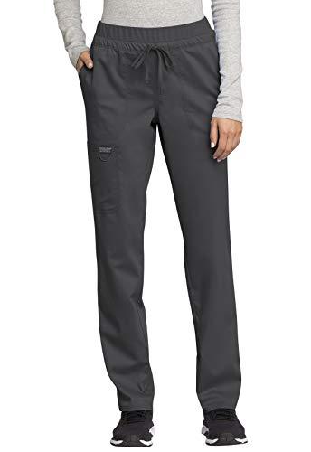 CHEROKEE Workwear WW Revolution Mid Rise Tapered Leg Drawstring Pant, WW105, 3XL, Pewter