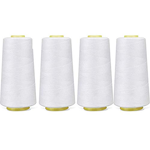 4-Pack of 6000 Yards (Each) White Serger Cone Thread All Purpose Sewing Thread Polyester Spools Overlock (Serger,Over Lock, Merrow, Single Needle)