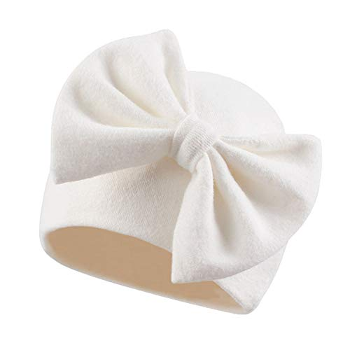 Newborn Baby Girl Hat Cotton Baby Bow Beanie Spring Infant Hats for Girls 0-6Months (White-1Pack, Preemie-Newborn)