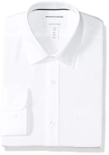 Amazon Essentials Men's Regular-Fit Wrinkle-Resistant Long-Sleeve Solid Dress Shirt, White, 17.5' Neck 34'-35' Sleeve
