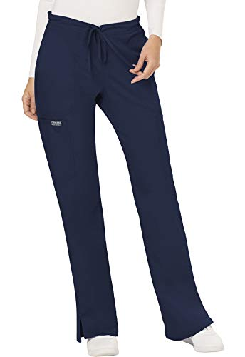 CHEROKEE Women's Mid Rise Moderate Flare Drawstring Pant, Navy, Large