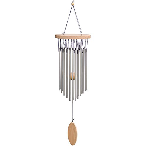 SuninYo Wind Chimes Outdoor,22 Tubes Wind Chimes with S Hook,a Quality Gift for Garden, Patio, Balcony and Indoor Decor,Silver