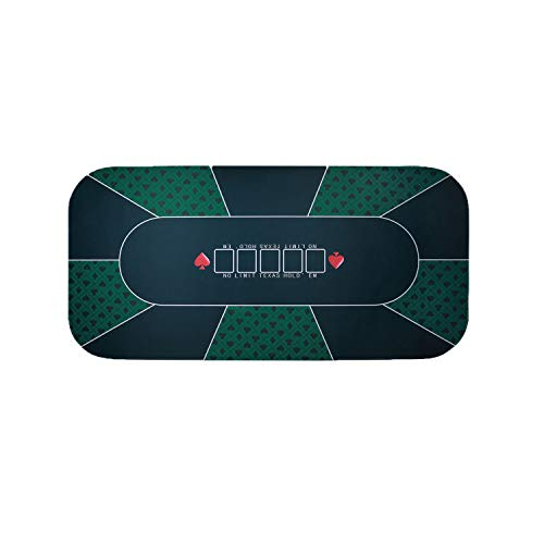 Firstand Professional Sure Sick Rubber Foam Poker Table Top Layout for Up to 8 Players to Play Cards Poker Mat - Green