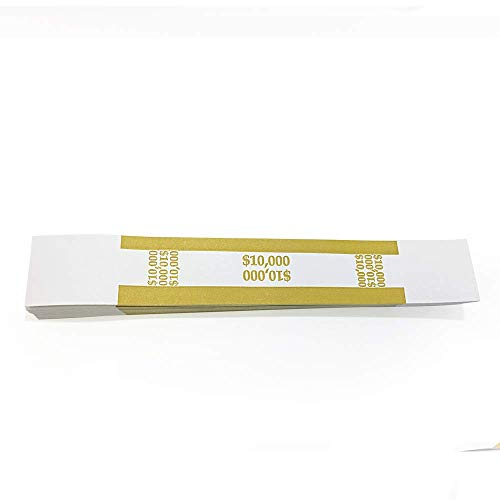 L LIKED 100 Pcs $10000 Currency Band Self Sealing Currency Straps Bands Money Bill Band Strap, 7.5 x 1.15 Inches (Gold)