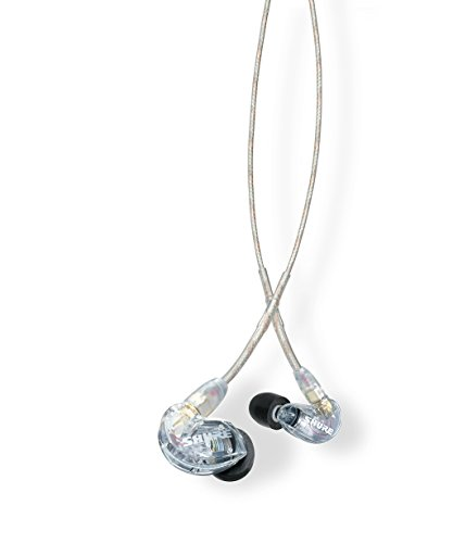 Shure SE215-CL Professional Sound Isolating Earphones with Single Dynamic MicroDriver, Secure In-Ear Fit - Clear
