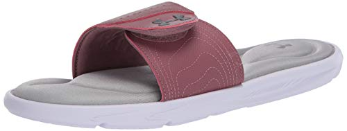 Under Armour Women's Ignite IX SL Slide Sandal, White (102)/Hushed Pink, 9 M US