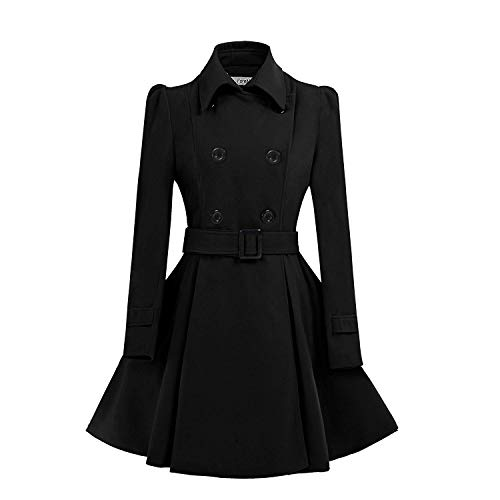 ForeMode Women Swing Double Breasted Wool Pea Coat with Belt Buckle Spring Mid-Long Long Sleeve Lapel Dresses Outwear(Black3,XX-Large