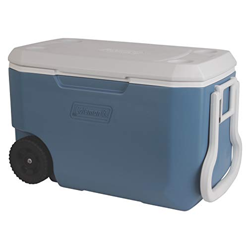 Coleman 62-Quart Xtreme 5-Day Heavy-Duty Cooler with Wheels, Blue/White