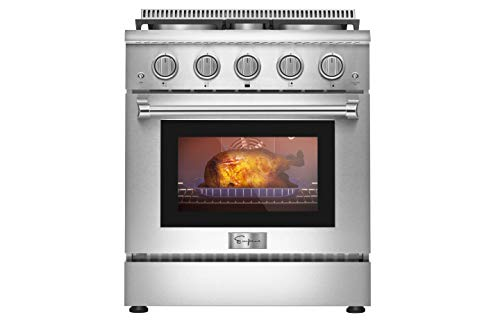 Empava 30 in. 4.2 cu. ft. Pro-Style Slide-In Single Oven Gas Range with 4 Sealed Ultra High-Low Burners-Heavy Duty Continuous Grates in Stainless Steel, 30 inches, Black
