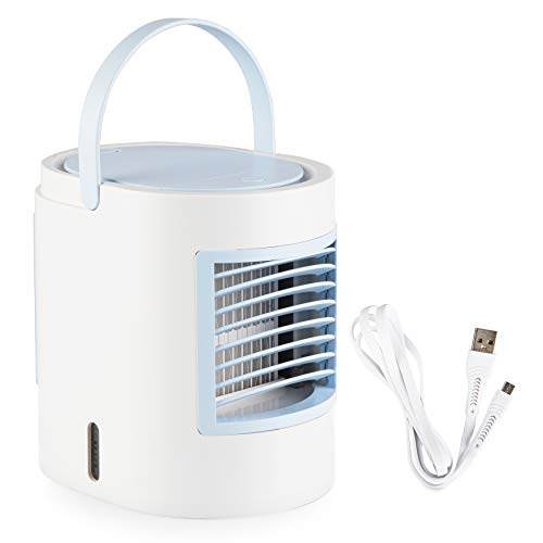 Simply Modern Personal Mini Air Conditioner - Portable AC Unit   Artic evaporative Cooler for Room, Office, and Bedroom. Compact humidifier, Comes in Pink, Blue, and Grey (Blue)