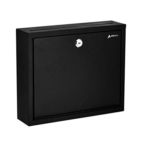AdirOffice Multi Purpose, Mailbox, Drop Box, Suggestion Box, Wall Mountable, 3' x 10' x 12' - Black