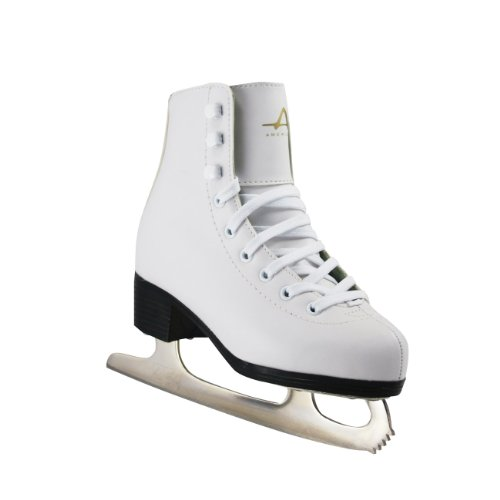 American Athletic Shoe Girl's Tricot Lined Ice Skates, White, 3