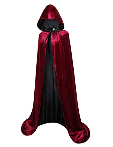 GRAJTCIN Halloween Velvet Cloak Lined with Satin Unisex Deluxe Renaissance Medieval Costume Hooded Cape(L, Wine-Black)