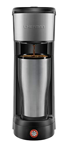 Chefman InstaCoffee Single Serve Coffee Maker Brews in 30 Seconds, Compatible with K-Cup Pods, Grounds and Loose-Leaf Tea w/ Reusable Filter, Compact 14 oz, Black/Stainless Steel, Mug Not Included