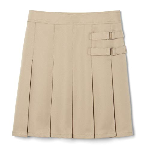 French Toast Big Girls' Two-Tab Pleated Scooter, Khaki, 10