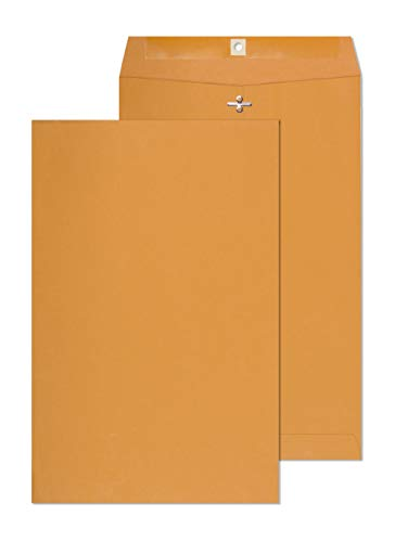 Clasp Envelopes - 10 x 15 Inch Brown Kraft Catalog Envelopes with Clasp Closure & Gummed Seal – 28lb Heavyweight Paper Jumbo Envelopes for Home, Business, Legal or School 10x15 15 Pack,