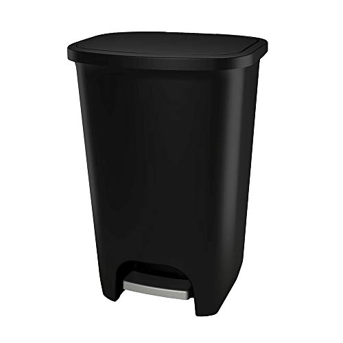 GLAD 75L Extra Capacity Plastic Step Can with CloroxTM Odor Protection | Fits All 20 Gallon Trash Bags, 75 Liter, Matte Black