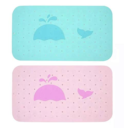Bath Tub Mat Non Slip for Baby and Kids Anti Slip Bathtub Mat Toddler Bathroom Accessories Mildew Mold Resistant Size L 14x25 Drain Holes Blue or Pink Whale (Blue)