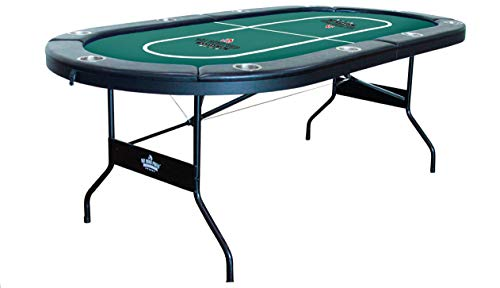 Hot Hand Poker Supply   Water-Resistant Speed Felt   10 Player Folding Poker Table   Portable   Easy Storage   No Assembly Required   84' L x 42' W x 30' H   Green