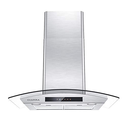 CIARRA CAS75502 Glass Vent Hood, 30 inch Wall Mount Range Hood 450 CFM Stainless Steel Stove Hood with 3 Speed Exhaust Fan, 2 Dishwasher Safe Filters, Touch Control, Ducted & Ductless Convertible