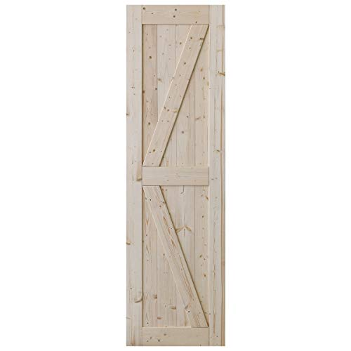 SmartStandard 24in x 84in Sliding Barn Wood Door Pre-Drilled Ready to Assemble, DIY Unfinished Solid Spruce Wood Panelled Slab, Interior Single Door Only, Natural, K-Frame (Fit 4FT Rail)