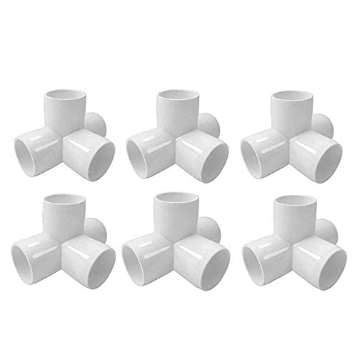 Linksworld 4 Way PVC Corner Fitting 3/4' PVC Elbow Corner Side Outlet Tee Fitting PVC Elbow Fittings for Furniture Grade,Greenhouse shed Pipe Fittings and Tent Connection 6pcs