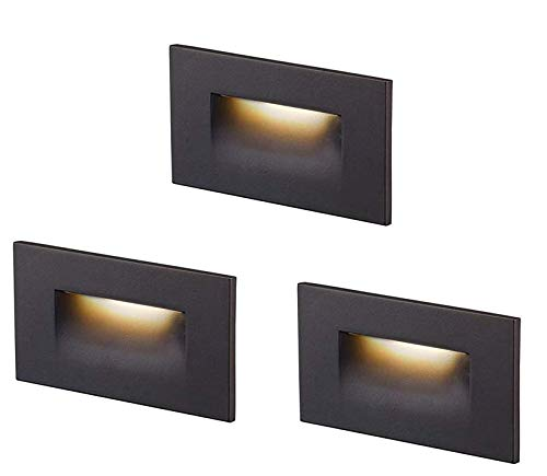 Cloudy Bay 120V Dimmable LED Step Light,3-Pack,3000K Warm White 3W 100lm,Indoor/Outdoor Stair Light,Oil Rubbed Bronze Finish