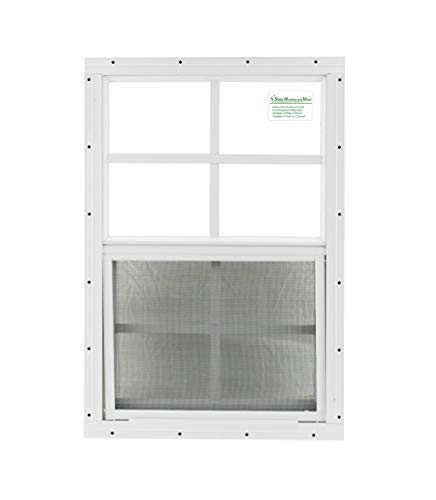 Shed Windows 14' X 21' White Flush Mount, Playhouse Windows, Chicken Coop Windows