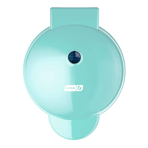 """Dash DMG8100AQ 8"""" Express Electric Round Griddle for Pancakes, Cookies, Burgers, Quesadillas, Eggs & other on the go Breakfast, Lunch & Snacks, with Indicator Light + Included Recipe Book, Aqua"""