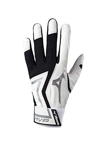Mizuno MVP Baseball Batting Gloves, Adult Medium, White/Black